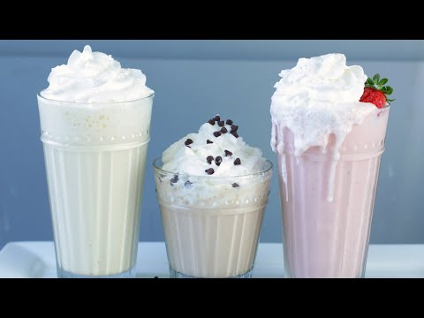 How to Make Milkshakes | Easy Strawberry Vanilla Chocolate Milkshakes Recipe