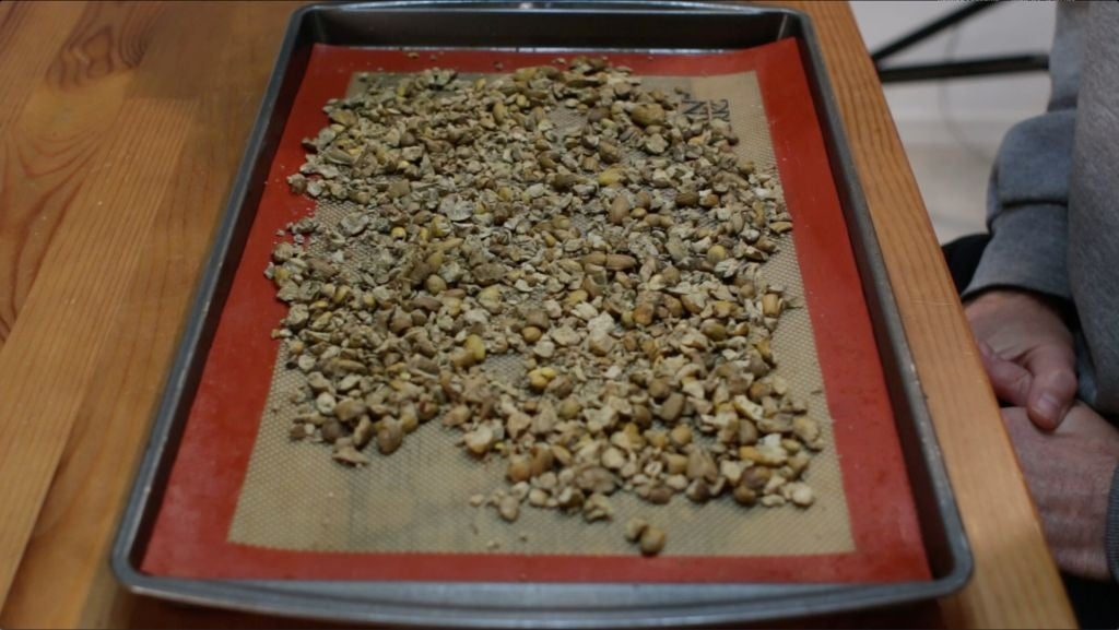 a batch of acorns on a silicone mat on a table