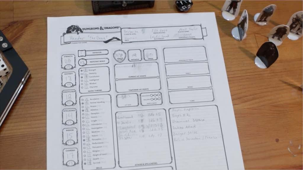 Sample dungeons and dragons character sheet on a brown wooden table.