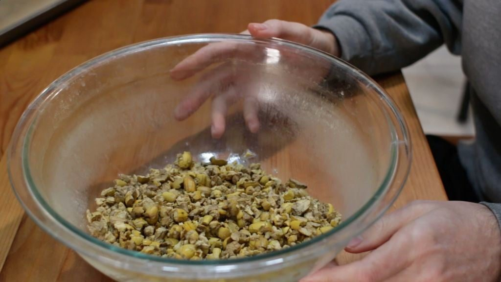 Acorn nuts in a large glass bowl.