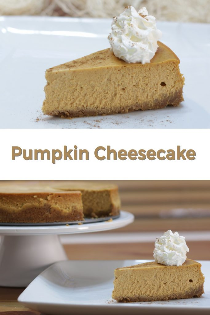 Easy pumpkin cheesecake pin various shots of cheesecake.