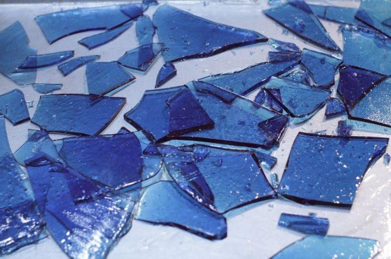 blue edible sugar glass on silver sheet pan