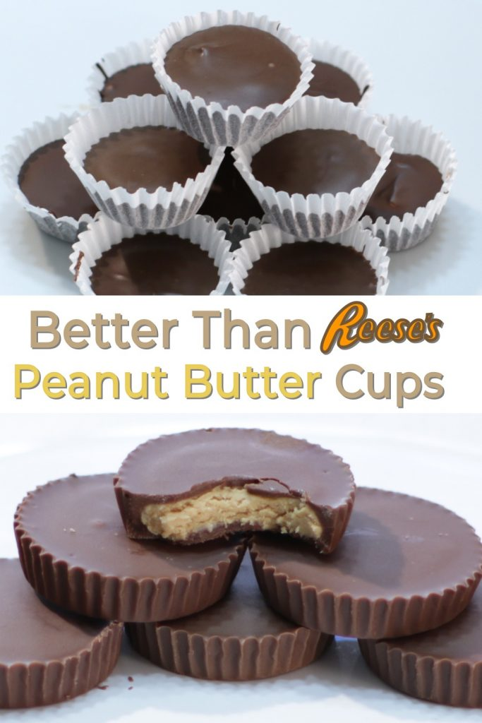 Better Than Reese's Peanut Butter Cups stacks of homemade peanut butter cups on white plates.