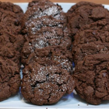 chocolate cookies recipe fifteen chocolate cookies on a white plate