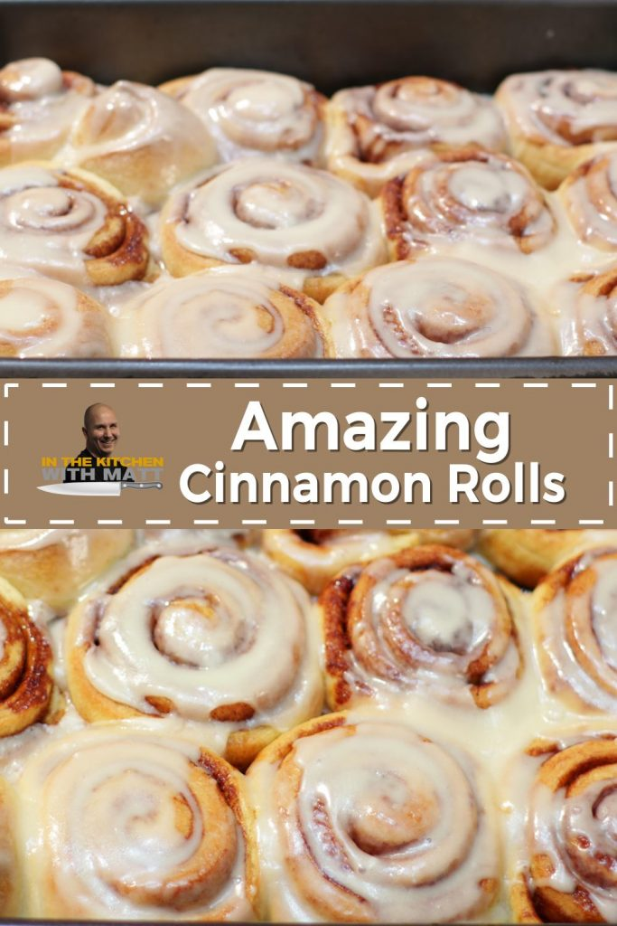 Amazing Cinnamon Rolls Pin for pinterest with in the kitchen with matt logo