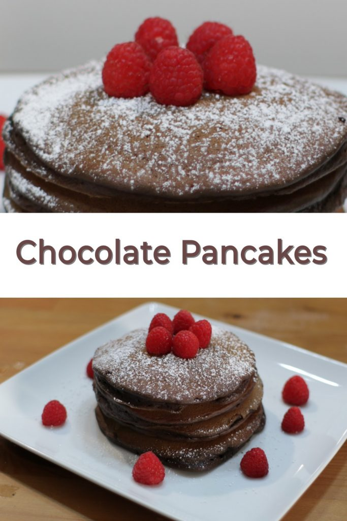 Chocolate pancakes pin for Pinterest two stacks of pancakes