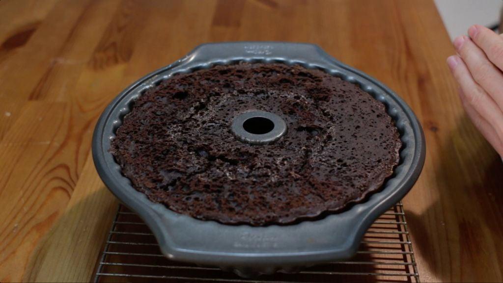 Freshly baked chocoflan