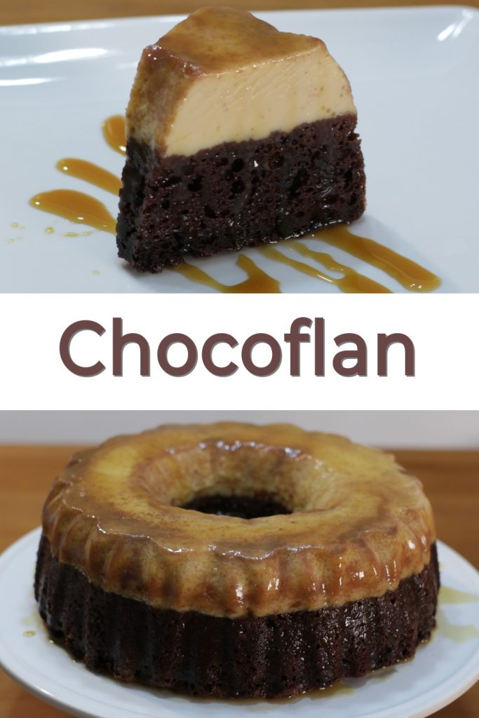 chocoflan recipe pin for Pinterest, slice a chocoflan on a white plate