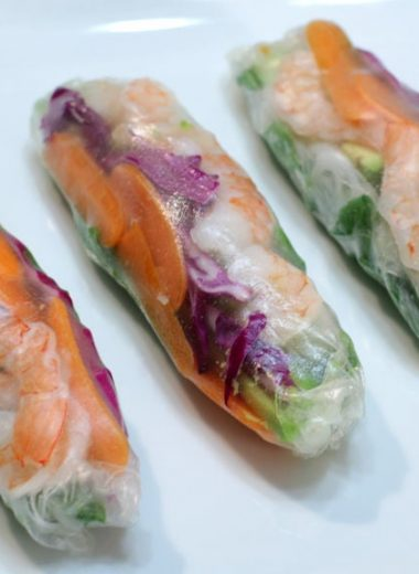 three easy spring rolls on a white plate