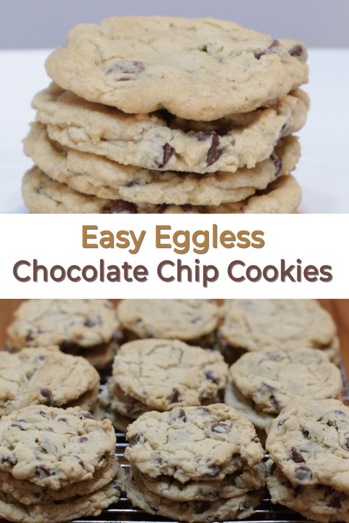 Eggless chocolate chip cookies pin for Pinterest