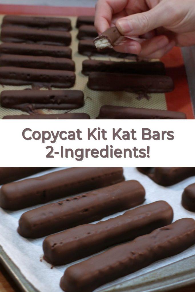 Homemade Kit Kat Bars 2-Ingredients pin for Pinterest