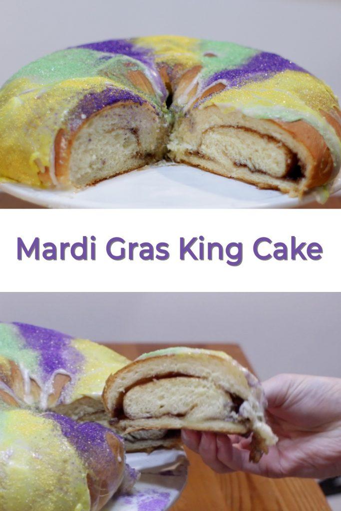 Mardi Gras king cake pin for Pinterest