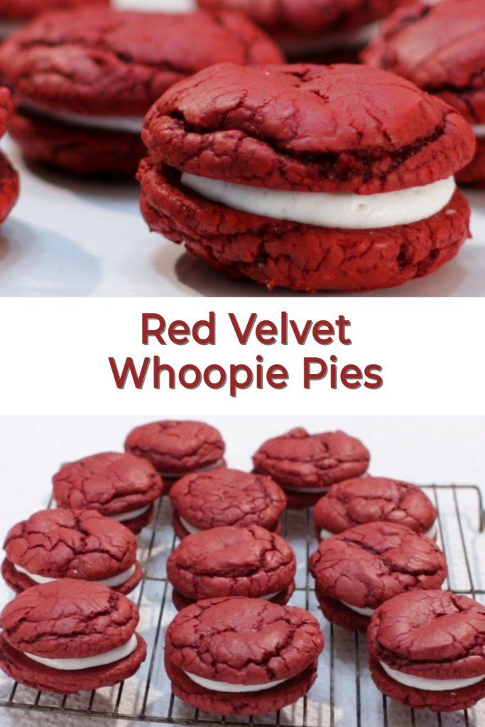 Red Velvet Whoopie Pies pin for Pinterest