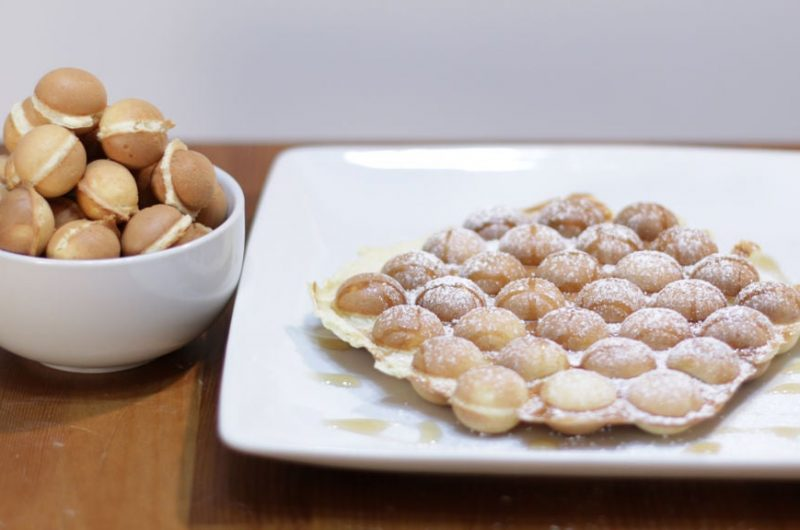 homemade bubble waffles on a wooden table