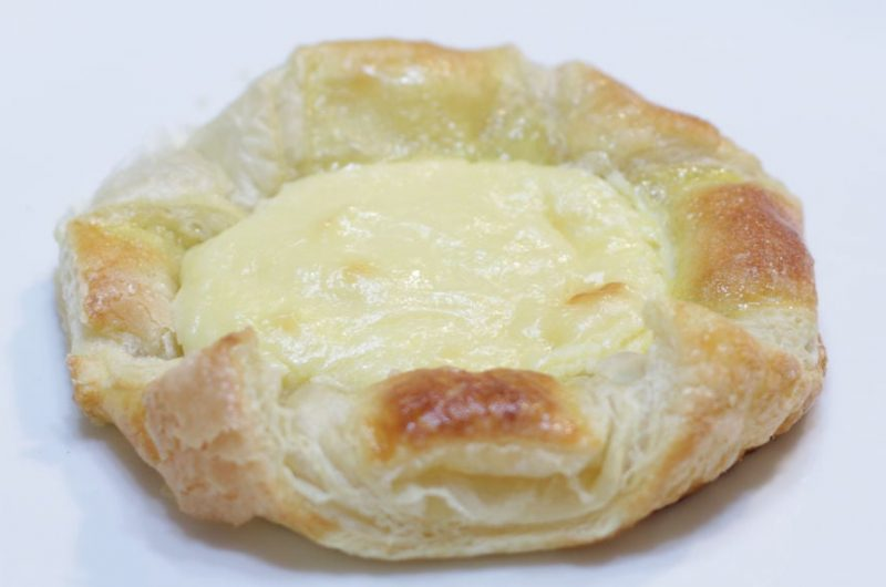 Easy cheese danish on a white plate