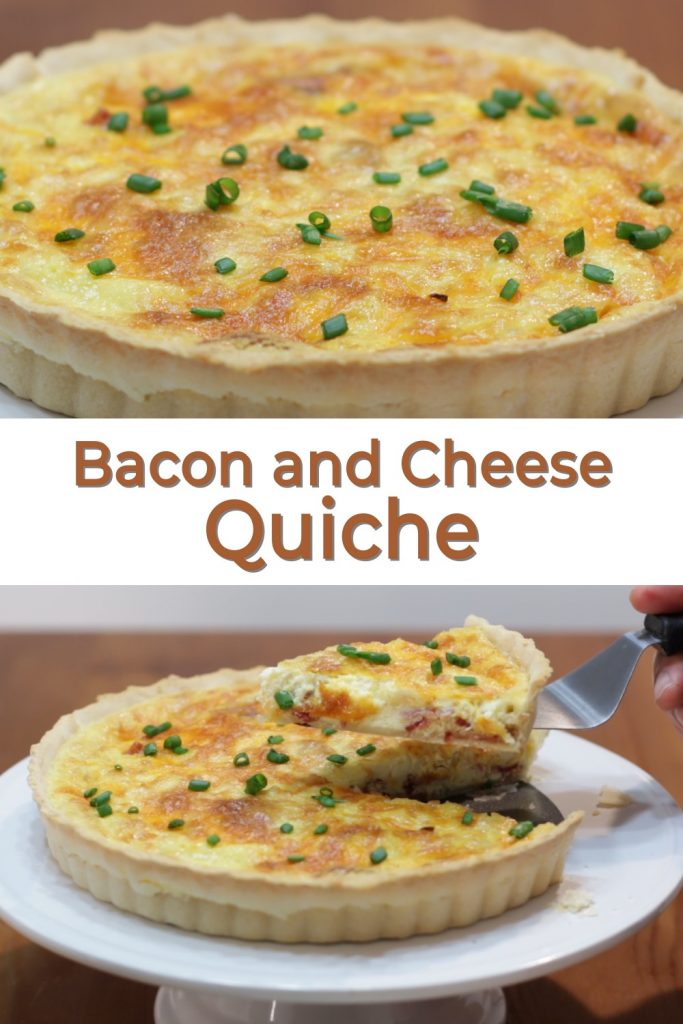 Bacon and cheese quiche pin for Pinterest