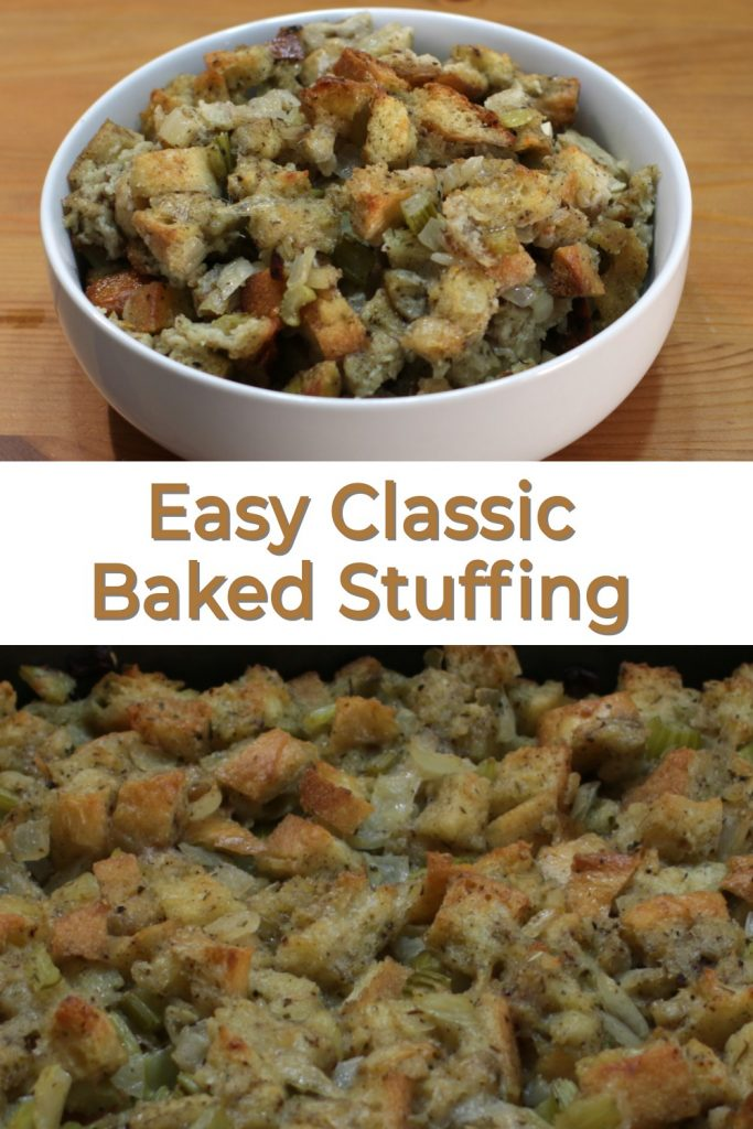 Easy classic baked stuffing pin for Pinterest