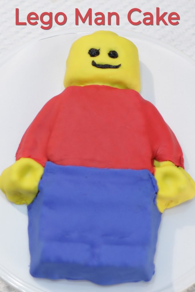 Lego man cake pin for Pinterest