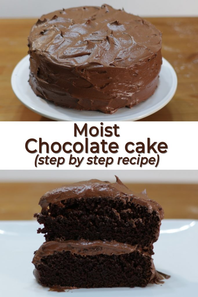 Moist homemade chocolate cake pin for Pinterest