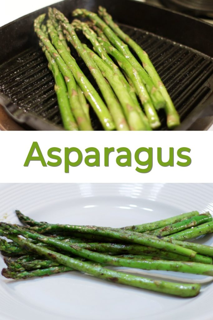 Pan-fried asparagus recipe pin for Pinterest