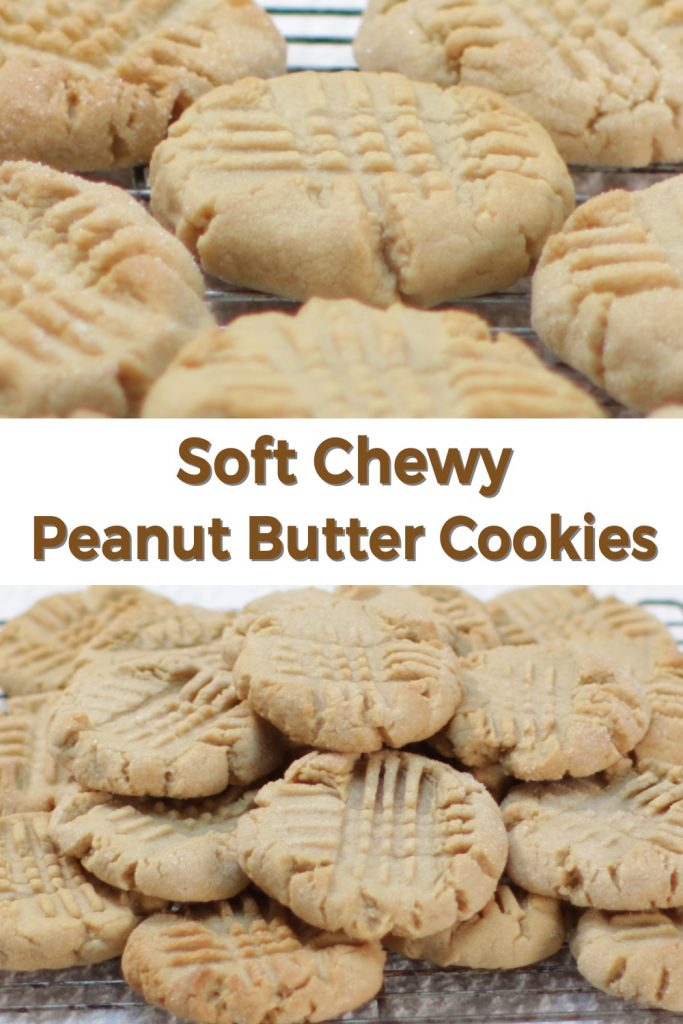 Soft chewy peanut butter cookies pin for Pinterest