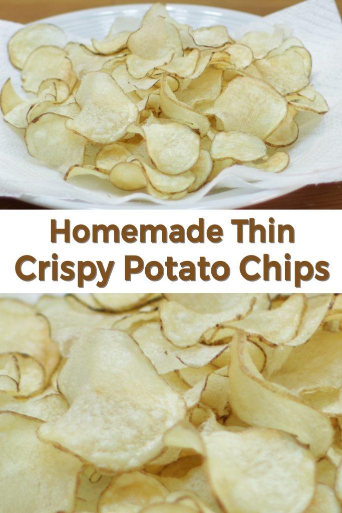 Thin crispy potato chips pin for Pinterest