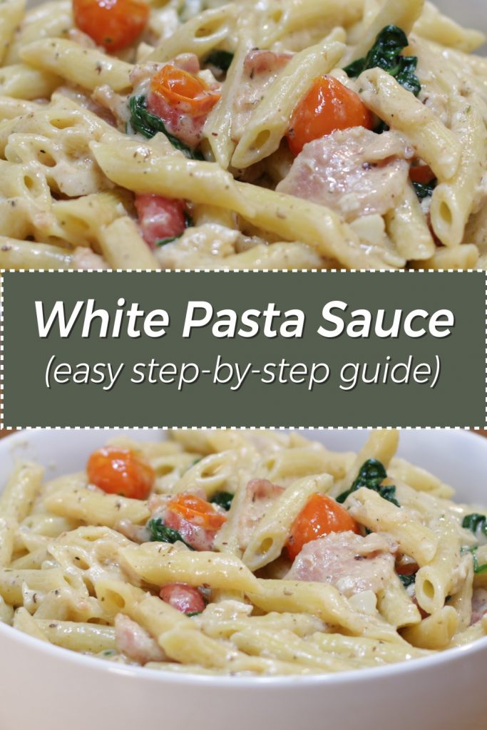 White pasta sauce pin for Pinterest