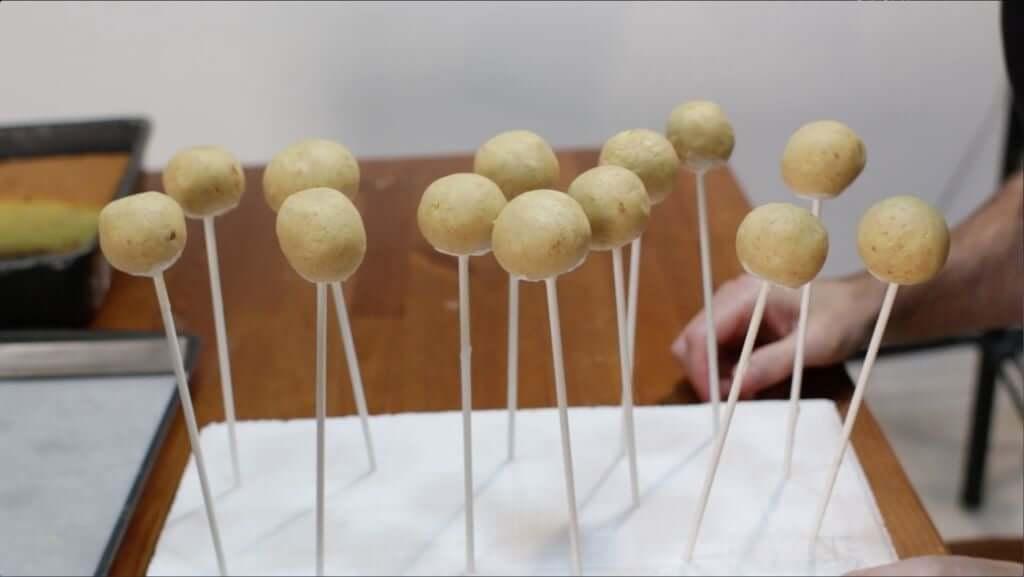 Several un-dipped cake pops on sticks stuck into white styrofoam.