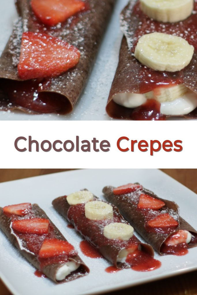 Chocolate crepes pin for Pinterest