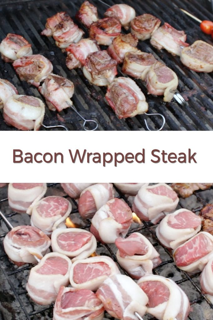 Bacon wrapped steak pin for Pinterest