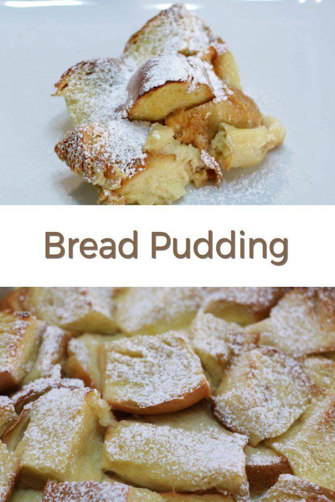 Bread pudding pin for Pinterest