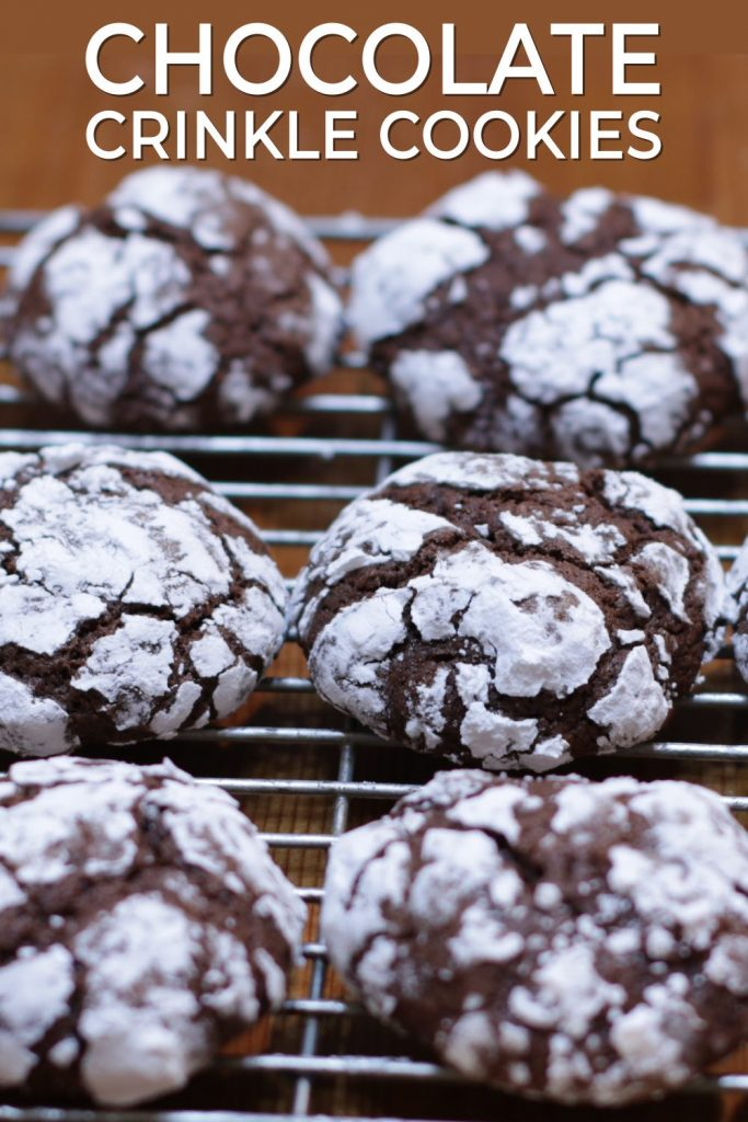 Chocolate crinkle cookies pin for Pinterest
