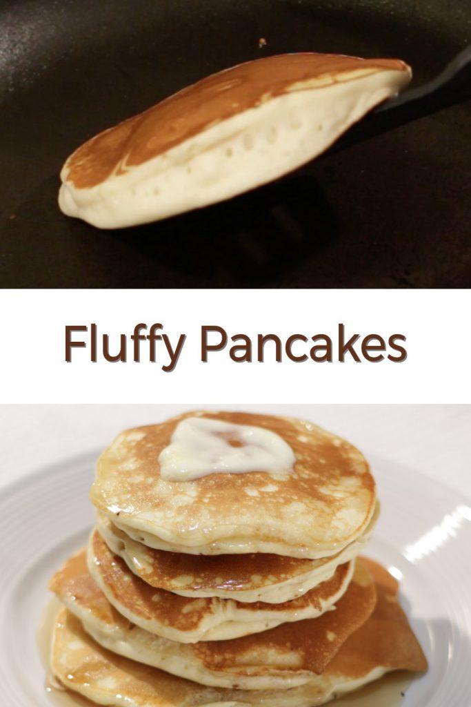 Fluffy pancakes pin for Pinterest