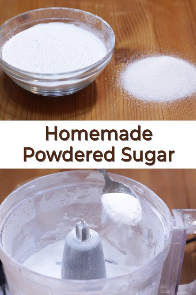 Homemade powdered sugar pin for Pinterest