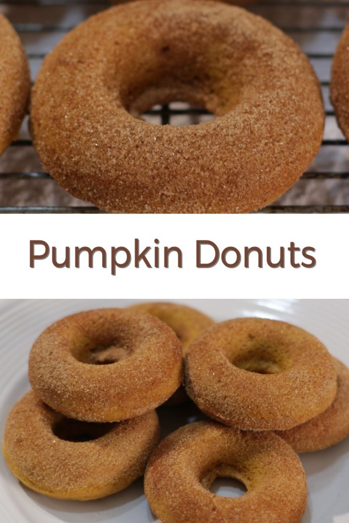 Homemade pumpkin donuts pin for Pinterest