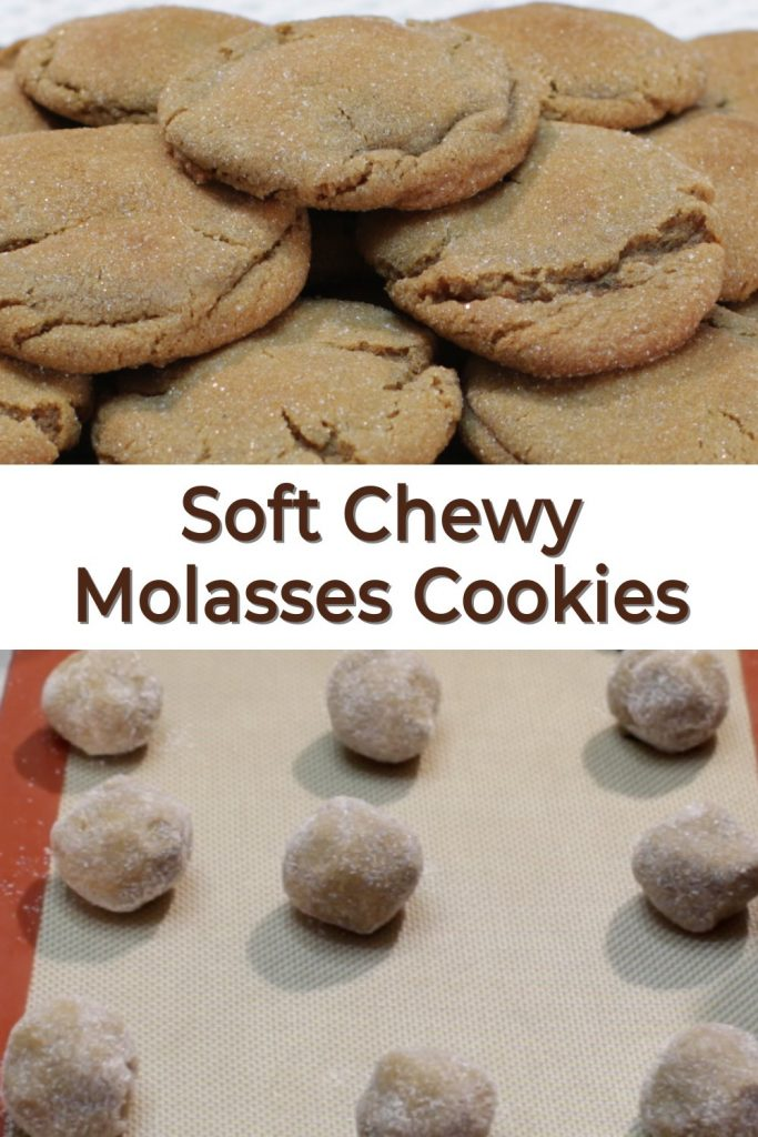 Soft chewy molasses cookies pin for Pinterest