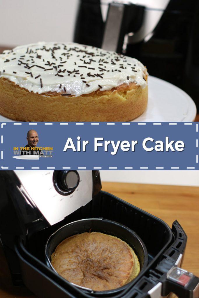 Air fryer cake pin for Pinterest