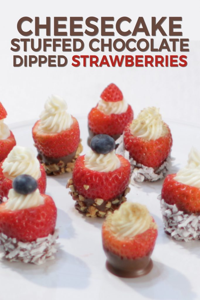 Cheesecake stuffed chocolate dipped strawberries pin for Pinterest