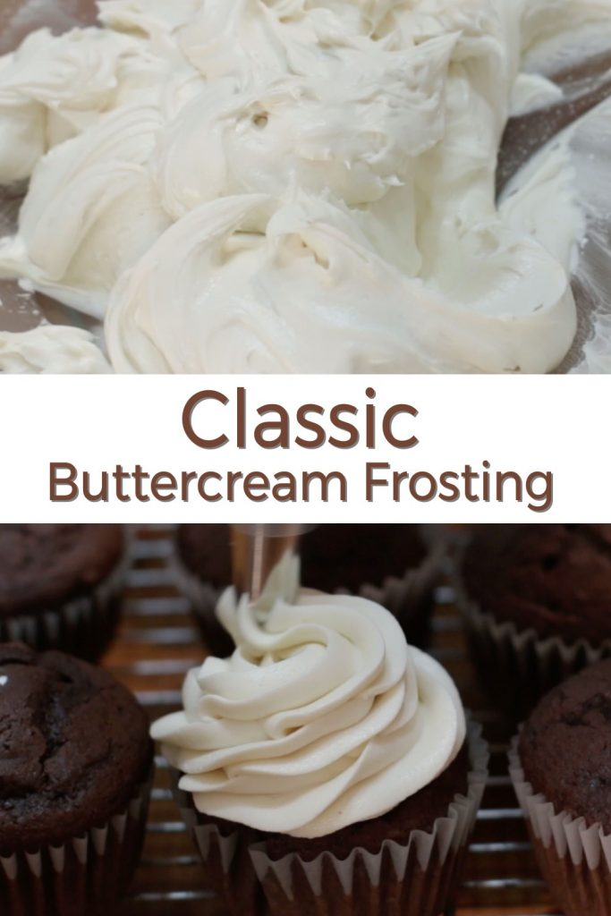 Classic homemade buttercream frosting pin for Pinterest