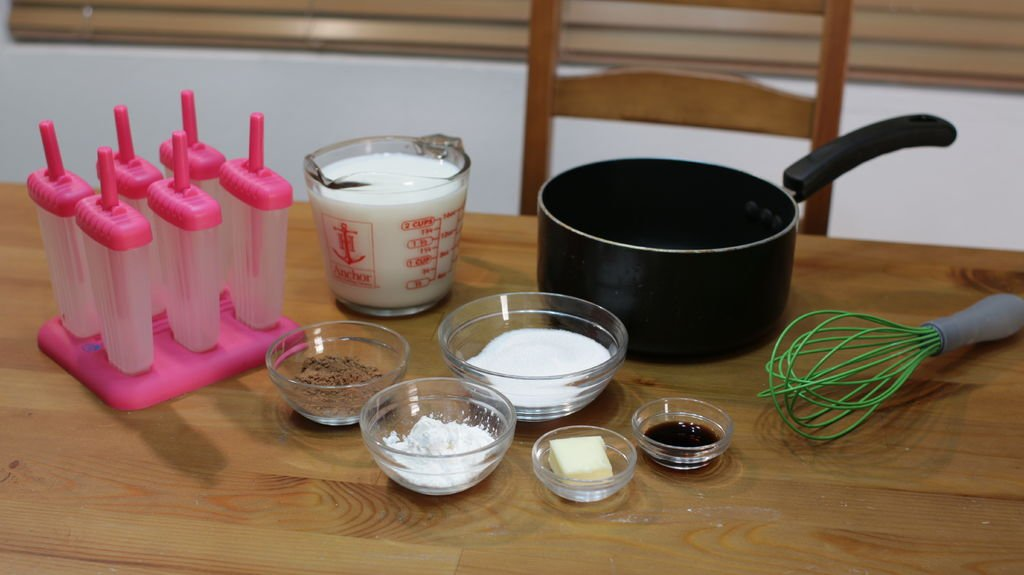 Tools and ingredients for making fudgesicles