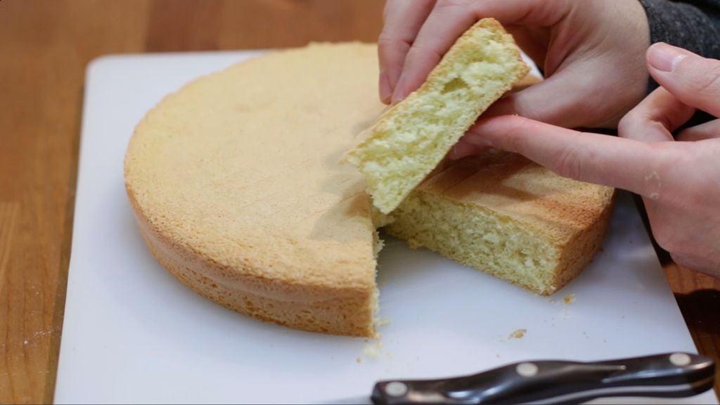 Hand squeezing a slice sponge cake.