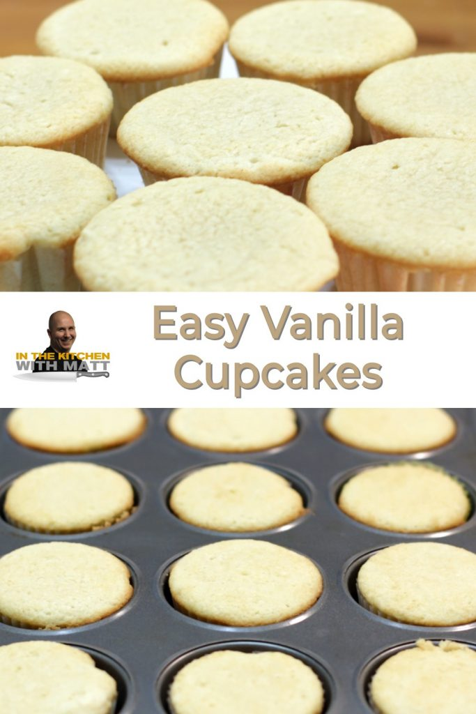 Vanilla cupcake recipe pin for Pinterest