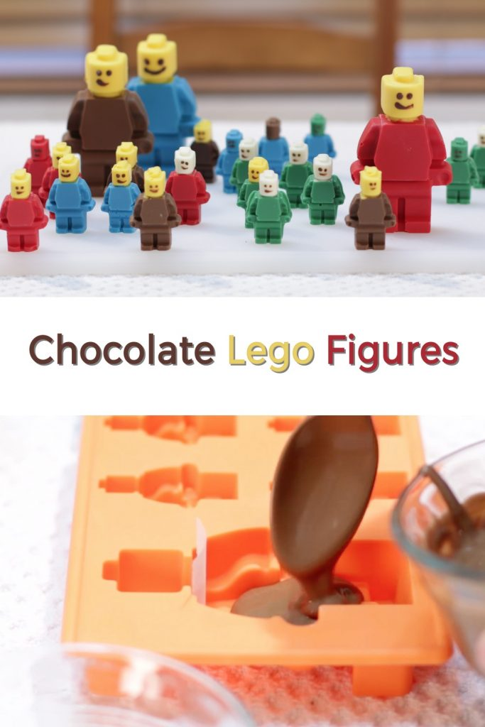 Chocolate lego figures pin for Pinterest