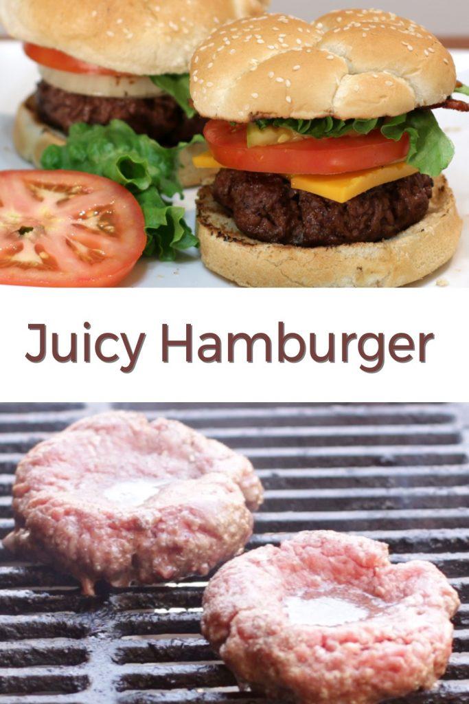 Juicy hamburger pin for Pinterest