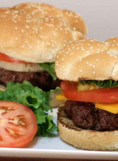 juicy hamburger on white plate