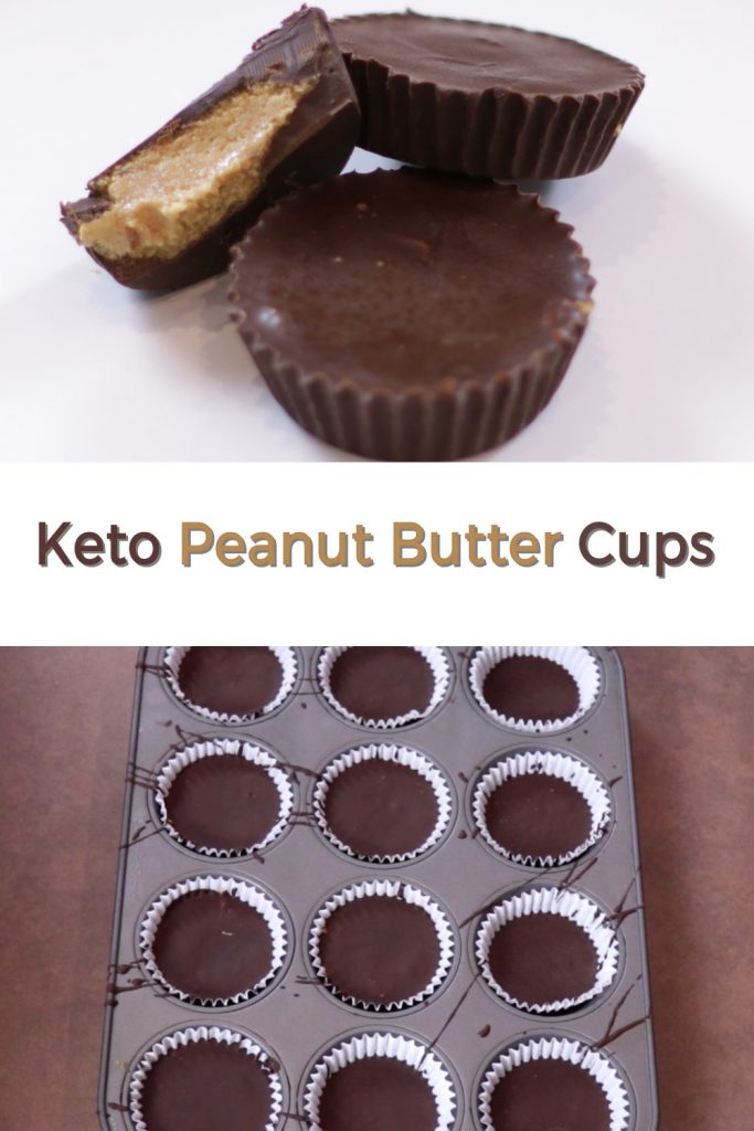 Keto peanut butter cups pin for Pinterest