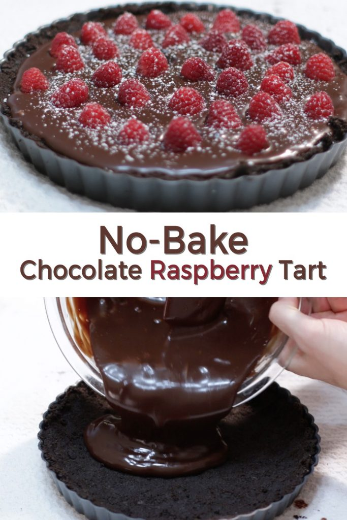 No bake chocolate raspberry tart pin for Pinterest