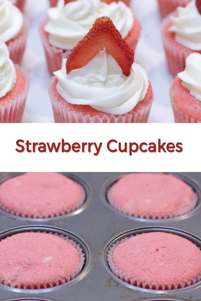 Strawberry cupcakes pin for Pinterest