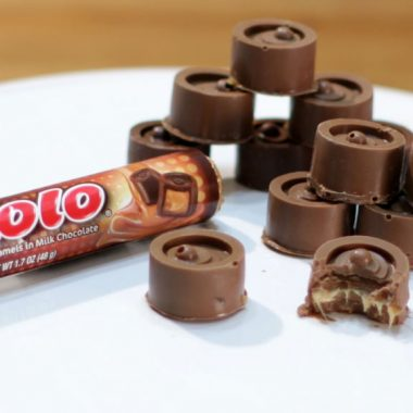 homemade rolos on a white plate.