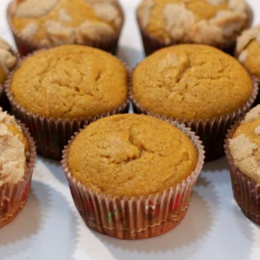 Homemade pumpkin muffins on a white plate